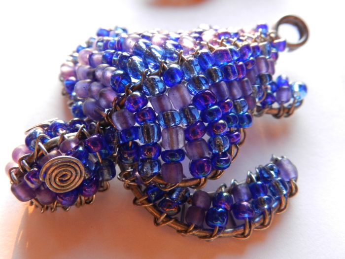 Blue glass beaded keyring